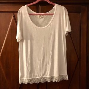 LOFT softened tee with lace detail